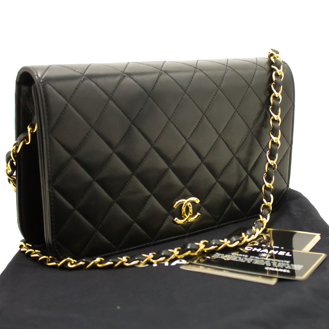CHANEL Chain Shoulder Bag Clutch Black Quilted Flap Lambskin Gold k07-Chanel.-hannari-shop