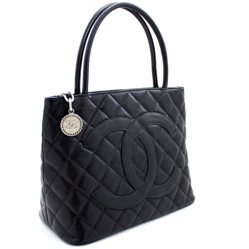 CHANEL Silver Medallion Caviar Shoulder Bag Shopping Tote Black s82