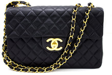"CHANEL Jumbo 13"" Maxi 2.55 Flap Chain Shoulder Bag XL Black Lamb s78"