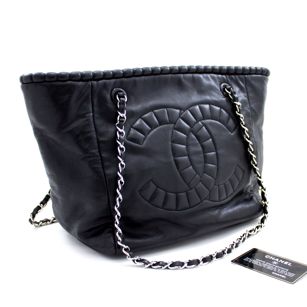 CHANEL Chain Shoulder Bag Tote Black Calfskin Coco Leather Silver s80