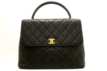 CHANEL Caviar Kelly Bag Handbag Black Quilted Flap Leather Gold L40-Chanel-hannari-shop