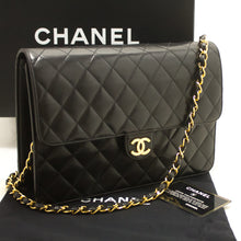 CHANEL Chain Shoulder Bag Clutch Black Quilted Flap Lambskin L30-Chanel-hannari-shop