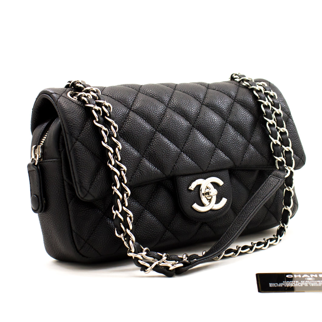 CHANEL Caviar Chain Shoulder Bag Black Quilted Flap Leather Silver a47 hannari-shop