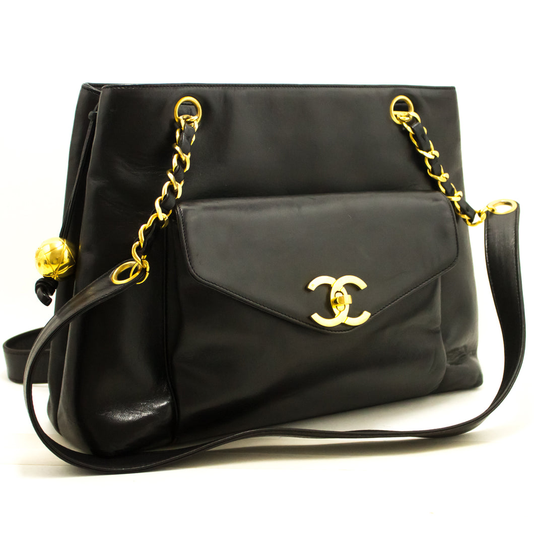 CHANEL Lambskin Large Chain Shoulder Bag Black Leather Gold Zipper j71-Chanel Boutique-hannari-shop