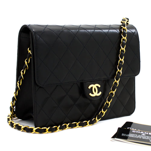 CHANEL Small Chain Shoulder Bag Clutch Black Quilted Flap Lambskin s77
