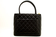 CHANEL Caviar Medallion Gold Hw Shoulder Bag Black Leather Quilted L52