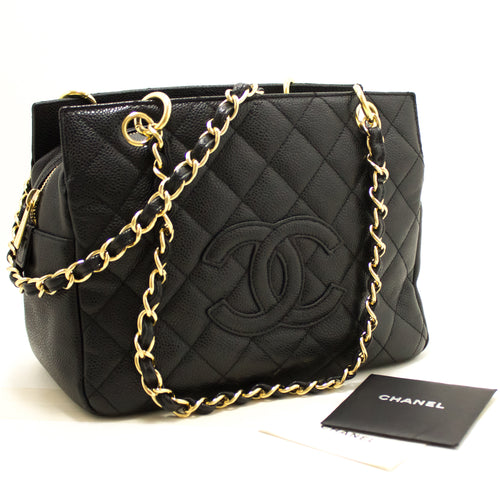 CHANEL Caviar Chain Shoulder Bag Shopping Tote Black Quilted Gold L49