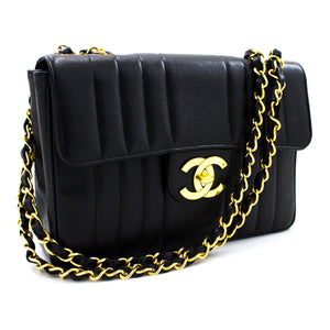 "CHANEL Caviar Jumbo 11"" Chain Shoulder Bag Black Vertical Quilted s61"