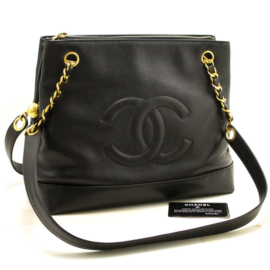 CHANEL Caviar Large Chain Shoulder Bag Black Zip Leather CC Gold j86-Chanel Boutique-hannari-shop