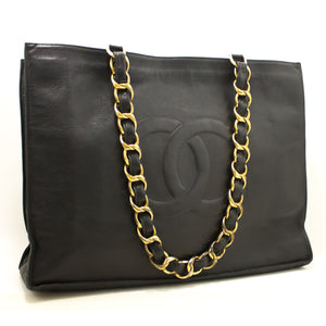CHANEL Jumbo Large Big Chain Shoulder Bag Black Lambskin Leather h48-Chanel Boutique-hannari-shop