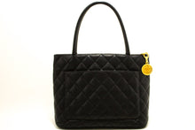 CHANEL Caviar Gold Medallion Shoulder Bag Shopping Tote Black k71-Chanel-hannari-shop