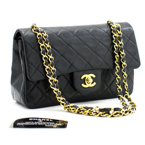 "CHANEL 2.55 Double Flap 9 ""Chain Shoulder Bag Black Classic Lamb a93 hannari-shop"
