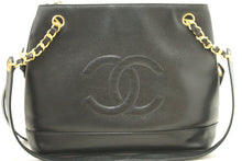 CHANEL Caviar Chain Shoulder Bag Black Large Leather CC Zipper L36-Chanel-hannari-shop