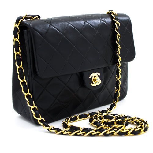 CHANEL Mini Square liʻiliʻi Chain Shoulder Bag Cross Black Black Purse s90