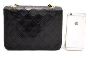 CHANEL Mini Square Small Chain Shoulder Bag Crossbody Black Purse s90