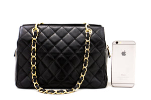 CHANEL Caviar Chain Shoulder Bag Shopping Tote Black Quilted Purse a46 hannari-shop