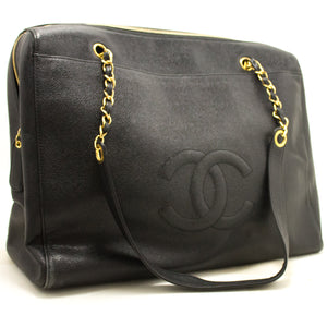 CHANEL Caviar Jumbo Borsa a spalla grande catena in pelle nera Zip 849-Chanel Boutique-hannari-shop