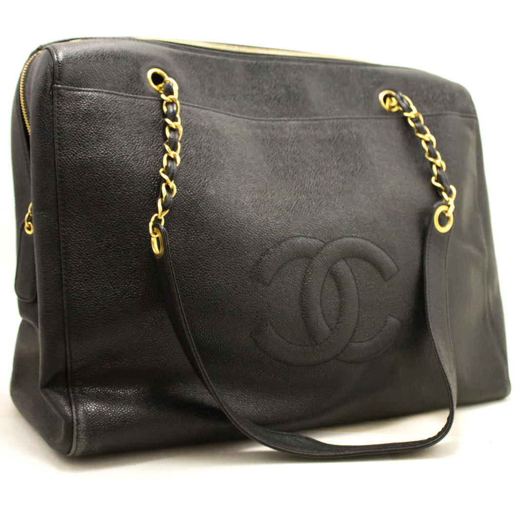 CHANEL Caviar Jumbo Large Chain Shoulder Bag Black Zip Leather CC 849