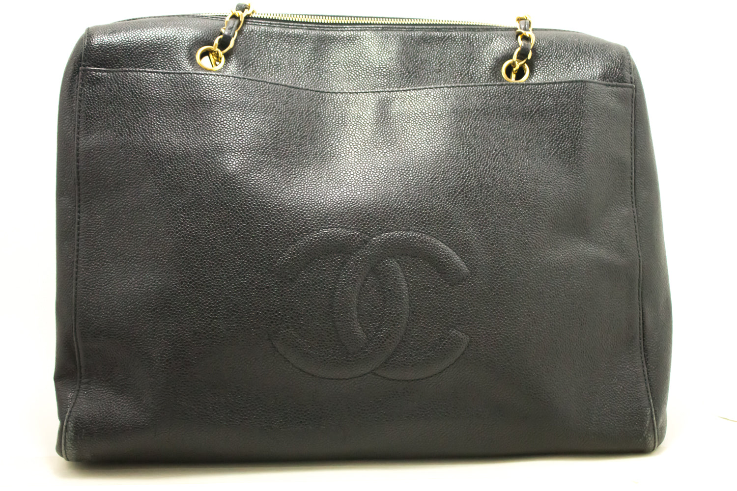 fdfaacda9eac ... CHANEL Caviar Jumbo Large Chain Shoulder Bag Black Zip Leather CC 849- Chanel Boutique- ...