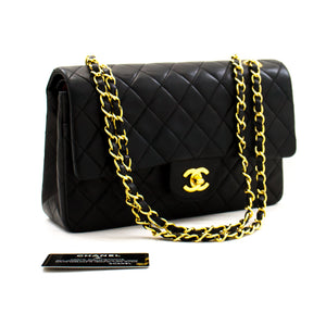 "CHANEL 2.55 Double Flap 10 ""Chain Shoulder Bag Black Lambskin a92 hannari-shop"