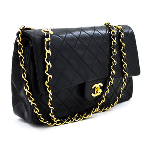 "CHANEL 2.55 Double Flap 10"" Chain Shoulder Bag Black Lambskin s85"