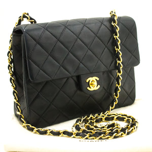 CHANEL Mini Small Chain Shoulder Bag Crossbody Black Quilted Flap k26-Chanel Boutique-hannari-shop