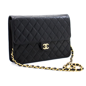 CHANEL Chain Shoulder Bag Clutch Black Quilted Flap Lambskin a84 hannari-shop