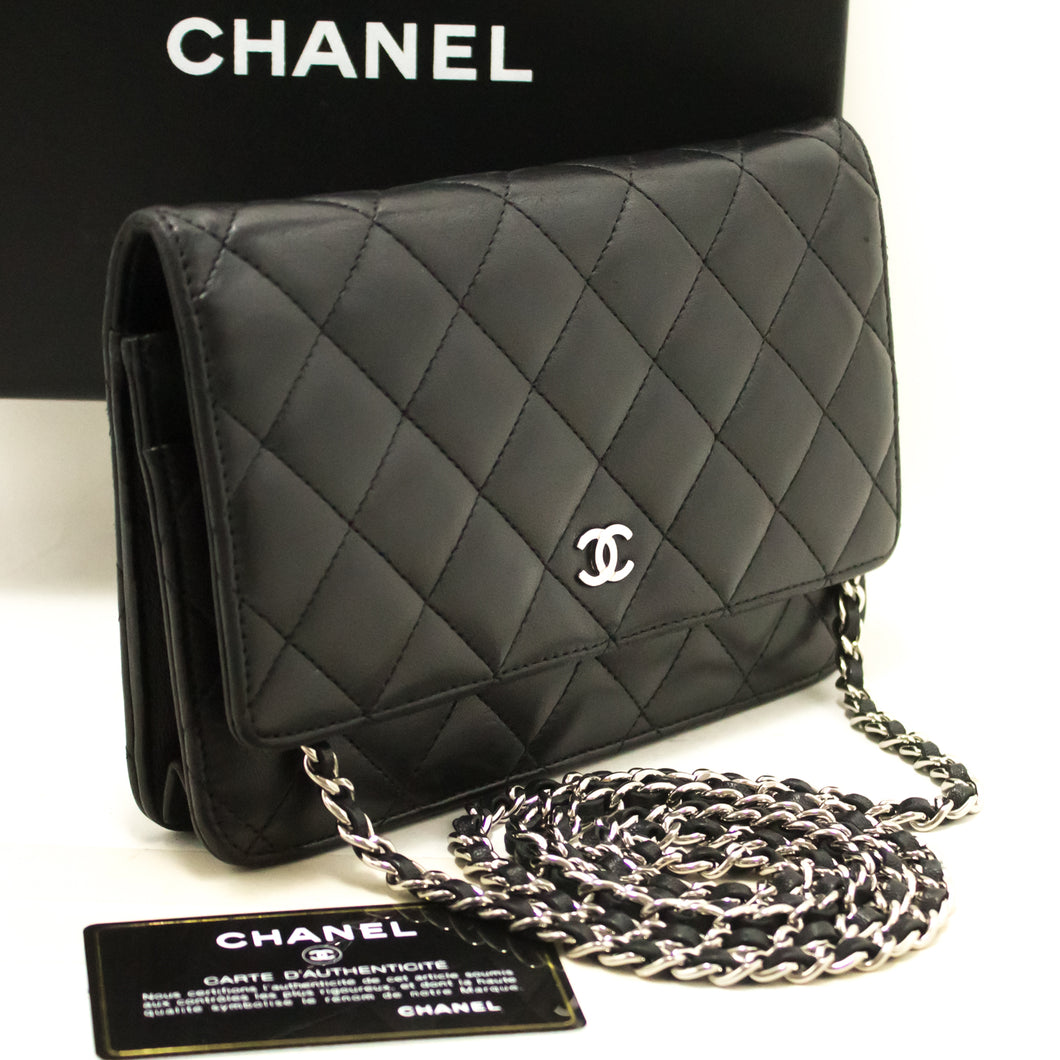 CHANEL Lambskin Wallet On Chain WOC Black Shoulder Bag Crossbody k24-Chanel Boutique-hannari-shop