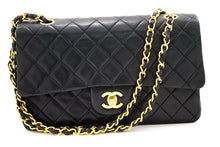 "CHANEL 2.55 Double Flap 10"" Chain Shoulder Bag Black Quilted Lamb s91"