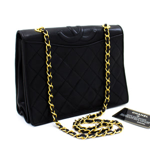 CHANEL Classic Chain Shoulder Bag Black Quilted Full Flap Lambskin s87