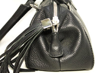 CHANEL Handbag Black Leather Tassel Silver Hardware Zipper Card L44
