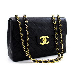 "CHANEL Jumbo 13 ""Maxi 2.55 Flap Chain Shoulder Bag Μαύρο αρνί a85 hannari-shop"
