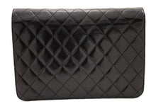 CHANEL Chain Shoulder Bag Clutch Black Quilted Flap Lambskin s99