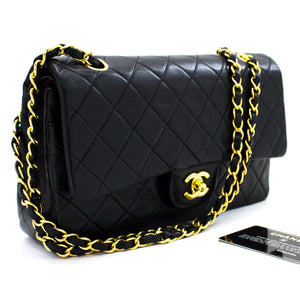 "CHANEL 2.55 Double Flap 10"" Chain Shoulder Bag Black Quilted Lamb t02"
