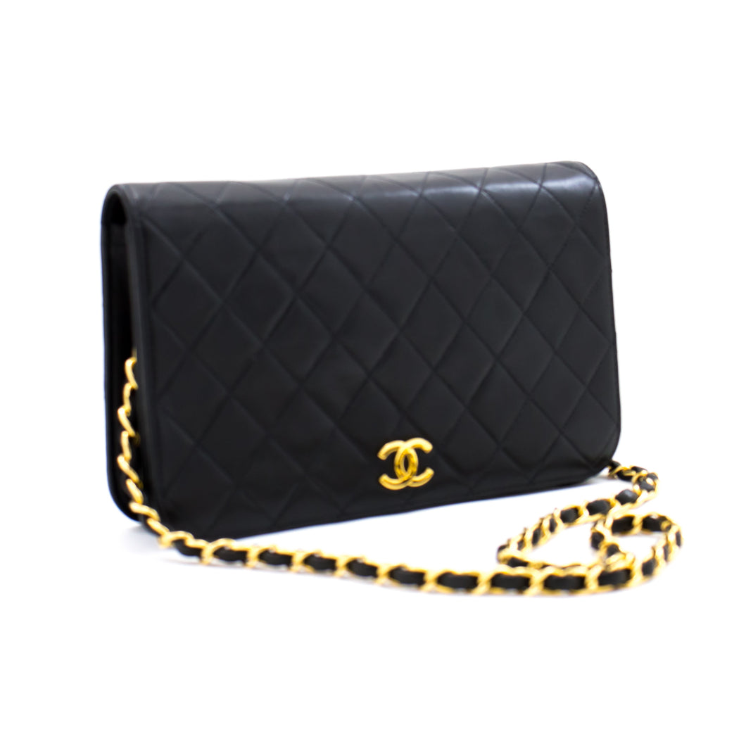 CHANEL Full Flap Chain Shoulder Bag Clutch Black Quilted Lambskin a74 hannari-shop