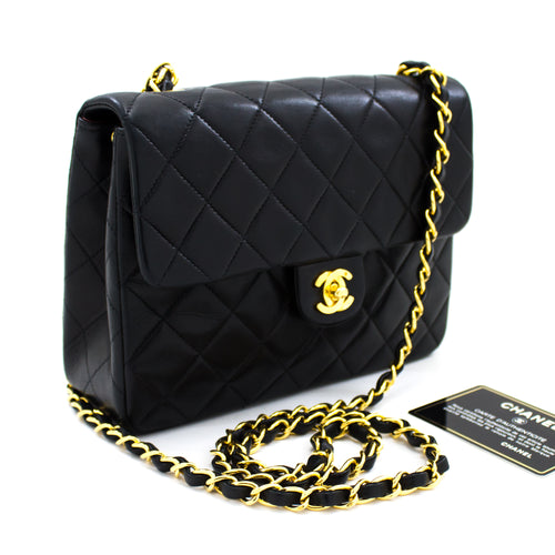 CHANEL Mini Square Small Chain Shoulder Bag Crossbody Black Quilt s98