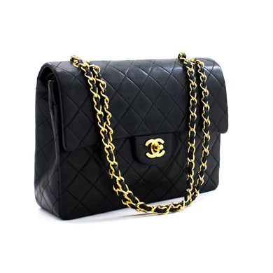 CHANEL 2.55 Double Flap Square Chain Shoulder Bag Black Lambskin a75 hannari-shop