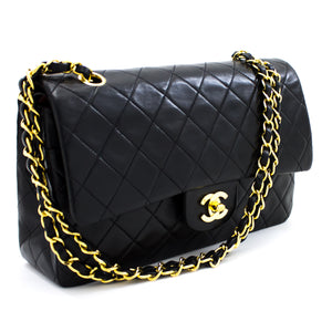 "CHANEL 2.55 Double Flap 10"" Chain Shoulder Bag Black Quilted Lamb t03"