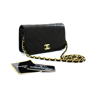 CHANEL Full Flap Chain Shoulder Bag Clutch Black Quilted Lambskin a78 hannari-shop