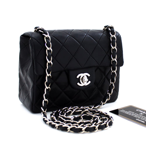 CHANEL Mini Square Silver Chain Shoulder Bag Crossbody Black s97