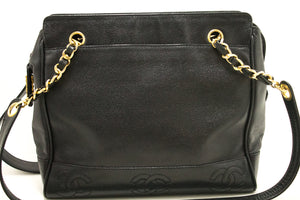 CHANEL Caviar Triple CC Chain Shoulder Bag Black Gold Hw Zipper k02-Chanel-hannari-shop