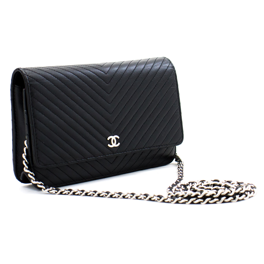 CHANEL V-Stitch Caviar Wallet On Chain WOC Black Shoulder Bag b16 hannari-shop