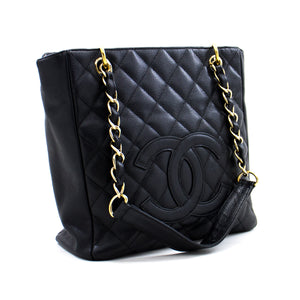 CHANEL Caviar PST Chain Shoulder Bag Shopping Tote Black Quilted c86 hannari-shop