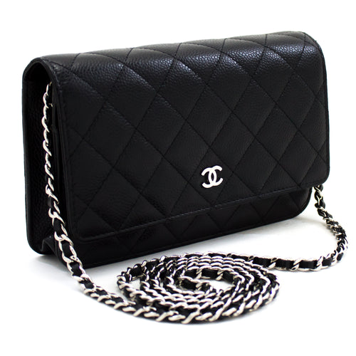 CHANEL Caviar Wallet On Chain WOC Black Shoulder Bag Crossbody t60-hannari-shop
