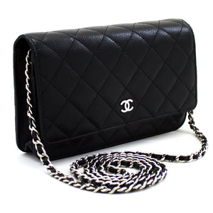 CHANEL Caviar Wallet On Chain WOC Black Shoulder Bag Crossbody t60