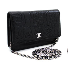 CHANEL Black Camellia Embossed Wallet On Chain WOC Shoulder Bag s94-hannari-shop