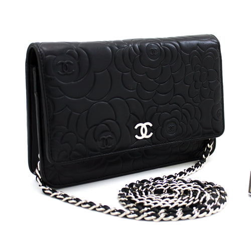 CHANEL Black Camellia Embossed Wallet On Chain WOC Shoulder Bag s94