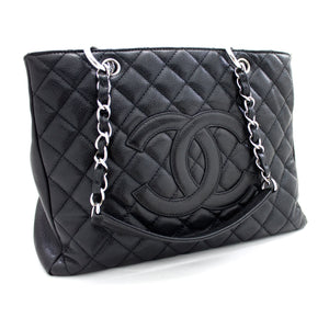 "CHANEL Caviar GST 13 ""Grand Shopping Tote Chain Shoulder Bag Black t50-hannari-shop"
