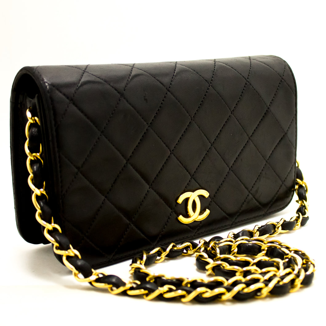 CHANEL Chain Shoulder Bag Clutch Black Quilted Flap Lambskin Purse L60-Chanel-hannari-shop