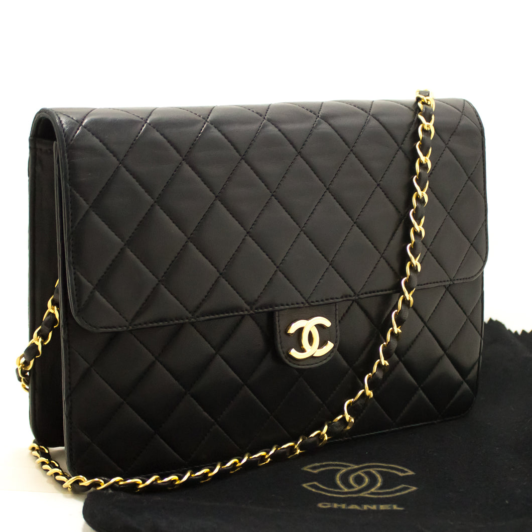 CHANEL Chain Shoulder Bag Clutch Black Quilted Flap Lambskin Purse k31-Chanel Boutique-hannari-shop